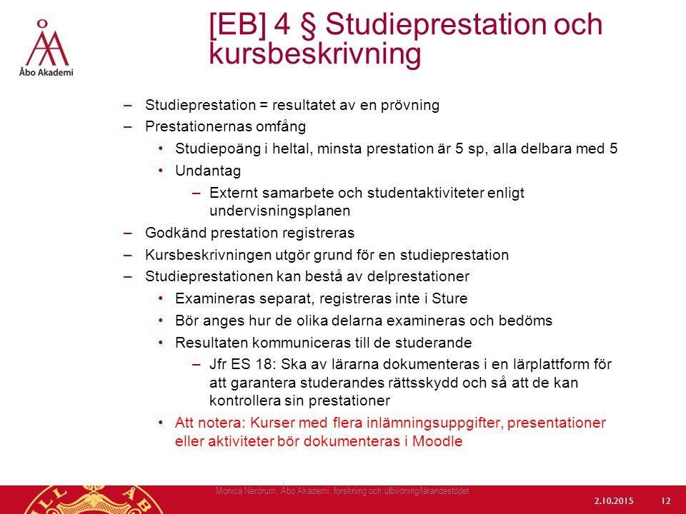 [EB] 4 § Studieprestation och kursbeskrivning